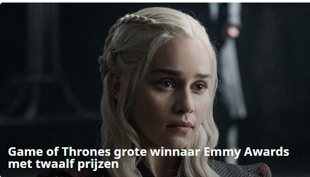 Game of Thrones wint 12 Emmy's